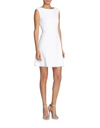 Tahari Arthur S. Levine Petite Cotton A Line Dress White
