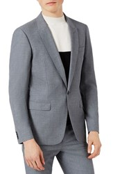 Topman 'S Skinny Fit Crosshatch Suit Jacket Mid Blue