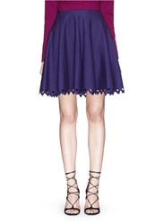 Azzedine Alaia 'Trigone' Triangle Cutout Hem Stretch Skirt Blue