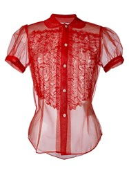 Comme Des Gara Ons Girl Sheer Ruched Detail Shirt Red