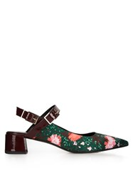 Erdem Aerina Carnation Print Satin Pumps Green Multi