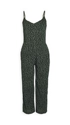 Sundry Leopard Jumpsuit Army