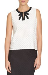 Women's Cece By Cynthia Steffe Contrast Trim Sleeveless Daisy Jacquard Top