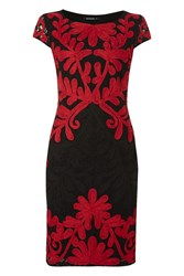 Roman Originals Lace Contrast Embroidery Dress Red