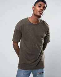 Black Kaviar Oversized T Shirt In Acid Wash Green