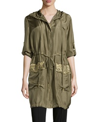 Marchesa Voyage Embroidered Tab Sleeve Silk Parka Military Green