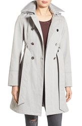 Guess Women's Hooded Softshell Trench Coat Grey Melange