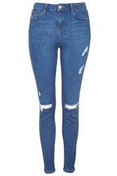 Topshop Tall Moto Blue Rip Jamie Jeans Mid Stone