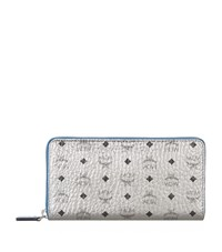 Mcm Visetos Zip Around Wallet Female Silver