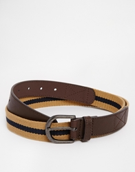 Asos Stripe Web Belt In Beige Stone