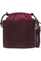 Iris And Ink Leather Canvas Shoulder Bag Burgundy