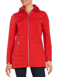 Karl Lagerfeld Quilted Hooded Mid Length Coat Red