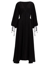 The Row Sante Plunge Neck Crepe Gown Black