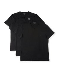 Emporio Armani V Neck Three Pack T Shirts Black