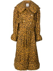 Moschino Vintage Leopard Print Padded Raincoat Brown