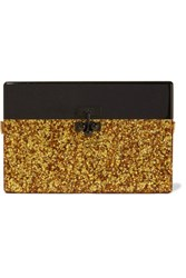 Edie Parker Small Trunk Glittered Acrylic Box Clutch Gold