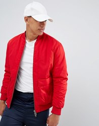 Selected Homme Oversized Bomber Jacket Barbados Cherry Red