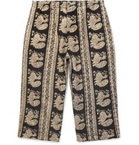 Beams Plus Cropped Printed Cotton Trousers Black