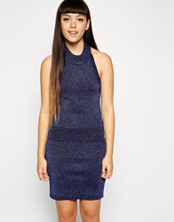 Asos Co Ord Knitted Halter Top In Metallic Yarn Navy