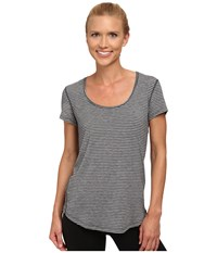 Lucy S S Workout Tee Fossil Asphalt Heather Stripe Women's Workout Gray