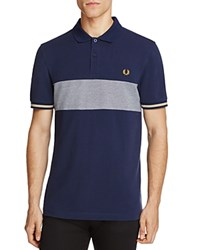 Fred Perry Oxford Knit Color Block Slim Fit Polo Shirt Carbon Blue