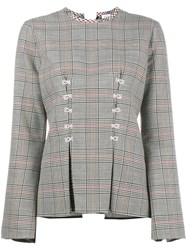 Rosie Assoulin Double Check Top With Flared Sleeves Wool Grey