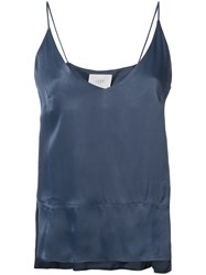 Just Female V Neck Strappy Top Women Viscose Xs Blue