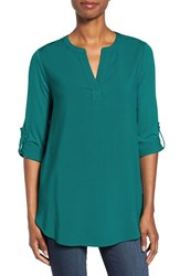 Pleione Women's Split Neck Roll Sleeve Tunic Teal Green