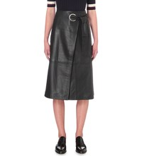 Whistles Lori Eyelet Leather Midi Skirt Black