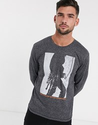 Tom Tailor Colour Block Long Sleeve Top In Grey Black