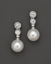 Bloomingdale's Cultured Pearl Drop Earrings With Diamonds 7 7.5 Mm No Color
