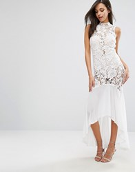 Love Triangle Lace Sheer Panel Fishtail Maxi Dress White