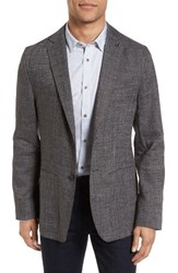 Ted Baker Men's London Grid Crosshatch Linen Blend Blazer Charcoal