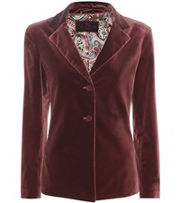 Etro Velvet Cotton Blazer Red