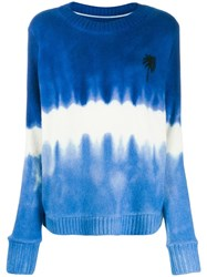 The Elder Statesman Tie Dye Jumper Blue