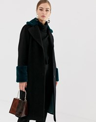 Helene Berman Double Breasted Coat With Contrast Faux Fur Collar And Cuffs Black