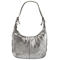 John Lewis Rima Leather Hobo Bag Silver