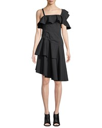 Kendall Kylie One Shoulder Asymmetric Ruffle Dress Black
