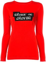 Bella Freud Knitted Slogan Top Red