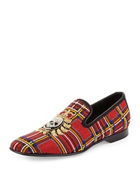 Pascow Men's Beaded Skull Loafer Tartan Donald J Pliner