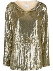 P.A.R.O.S.H. Sequin Double Layer Sleeve Hoodie Gold