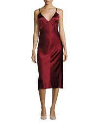 Helmut Lang V Neck Sateen Slip Midi Dress Red