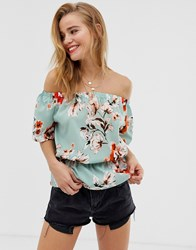 Parisian Bardot Top In Floral Print Green