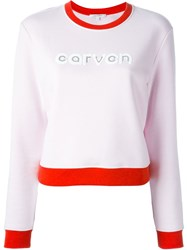 Carven Logo Print Sweatshirt Pink And Purple