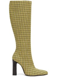Balenciaga Houndstooth Boots Yellow And Orange