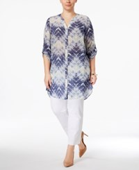 Jm Collection Plus Size Sheer Printed Blouse Only At Macy's Flaming Ombre