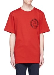 Stella Mccartney Cat Slogan Print Organic Cotton T Shirt Red