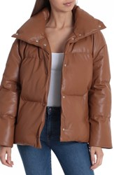 Bagatelle Faux Leather Puffer Jacket Cognac