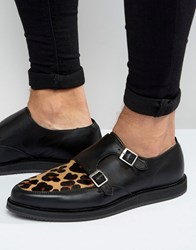 Asos Monk Shoes In Black Leather With Leopard Panel Black