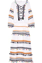 Dodo Bar Or Embellished Embroidered Cotton Gauze Midi Dress White